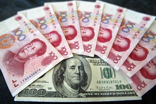 Chinese currency 100 Renminbi notes with